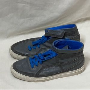 Diesel Gray, Blue, and White Men High Top Sneakers